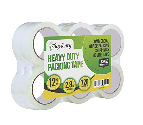 Heavy Duty Clear Packing Tape 2.8 mil, 1.88 x 180 Feet (60 Yards)- Big 12 Rolls of Moving/Shipping/Storage Tape Suitable to Refill Dispenser Gun, Durable and Easy to Use (12 Rolls)