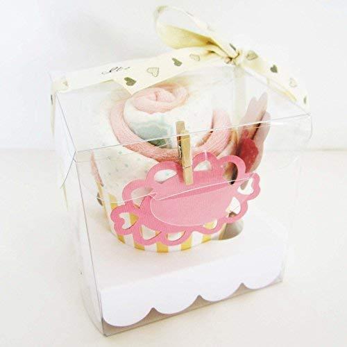 Elegante Box mit Cupcake (Marke Baumwollsocken + DODOT Windel) | Rosa Ton, für Mädchen | Baby Shower Geschenkidee, Geschenk zur Taufe, Souvenir für Gäste