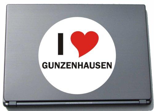 Indigos I Love Aufkleber Decal Sticker Laptopaufkleber Laptopskin 210 mm mit Stadtname GUNZENHAUSEN