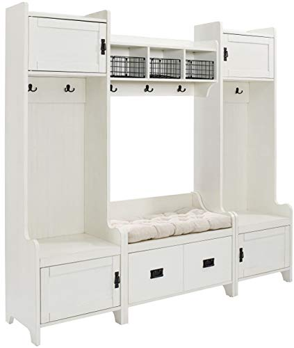 Crosley Furniture  Fremont Entryway Kit with 2 Towers, Shelf, and Storage Bench, Distressed White