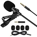 MACTREM Lavalier Lapel Microphone, 3.5 MM Shirt Mic Compatible Android Smartphones and Computer, Clip on Microphone for YouTube, Interview, Studio, Video, Recording