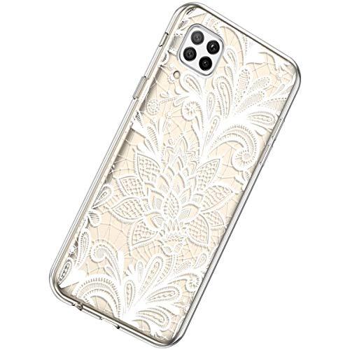 Herbests Kompatibel mit Huawei P40 Lite Hülle Silikon Weich TPU Handyhülle Durchsichtige Schutzhülle Niedlich Muster Transparent Ultradünn Kristall Klar Handyhülle,Weiße Rose