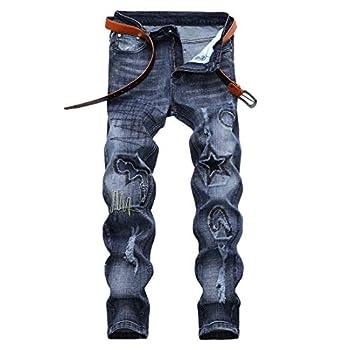 Chowsir Men Vintage Skinny Moto Biker Jeans Stretch Ripped Patch Jeans Straight Denim Pants  40 06-Light Blue