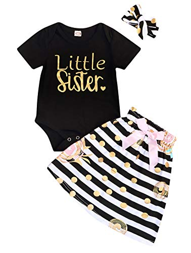 Newborn Little Sister Baby Little Girls Skirts Leggings Pants Gifts Outfits Set (Black-Little Sister Short, 18-24 Months)