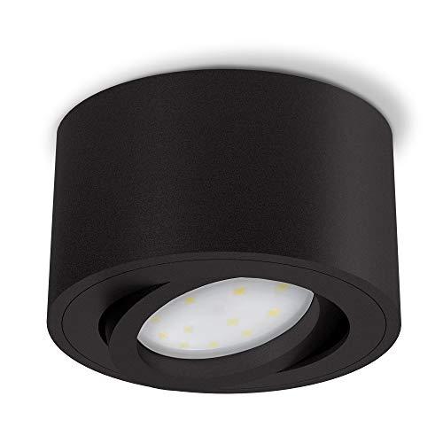 SSC-LUXon CELI-1BM Aufbauspot LED flach schwenkbar - mit wechselbarem LED Modul 5W warmweiß 230V - Aufbaustrahler schwarz rund