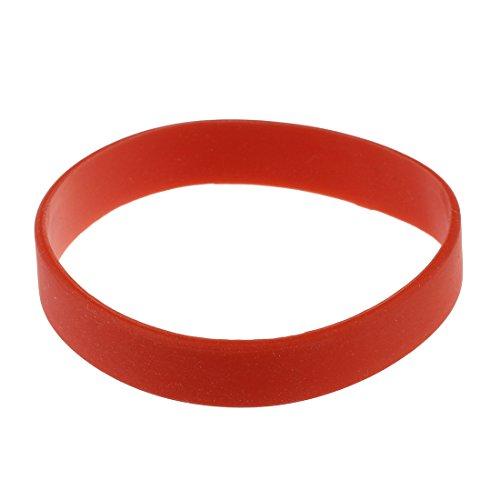 TOOGOO(R), braccialetto alla moda da polso, in gomma siliconica elastica, colore rosso