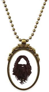 Hairstyle Beard Men Women Antique Necklace Vintage Bead Pendant Keychain