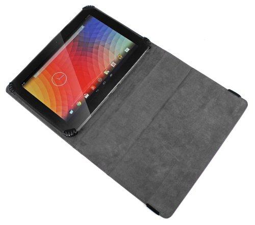 DURAGADGET Funda/Soporte Rígida De Cuero Negro para La Tablet Google Nexus 10