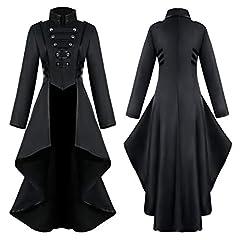 COCD Women's Steampunk Jacket Victorian Irregular Tailcoat Vintage Gothic Tuxedo Coat Holloween Costume, Black, S #2
