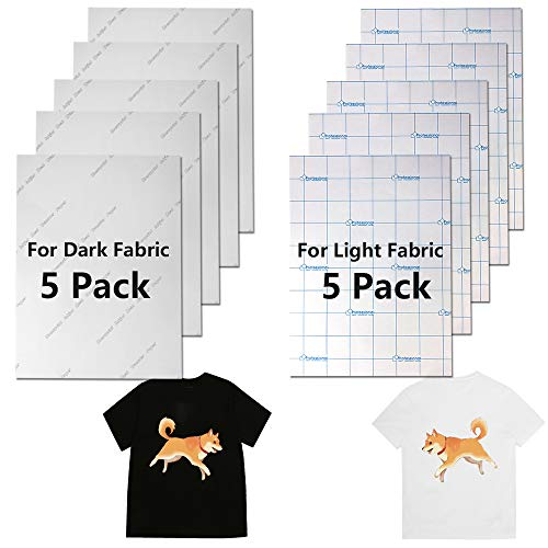 10 Pieces Heat Transfer Paper for Dark and Light Fabrics Printed Fabric Transfer Paper Inkjet Printer Iron on HTV for T-Shirt Bag Accessories, A4 Size