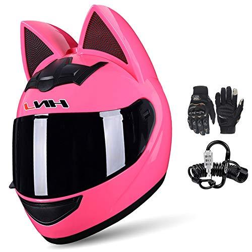 DYJD Motorradhelm mit Katzenohren, Integralhelm, abnehmbares Futter, für alle Jahreszeiten, atmungsaktiv, niedlich, für Männer und Frauen, mit Handschuhen und Helmschloss, Pink, Größe L