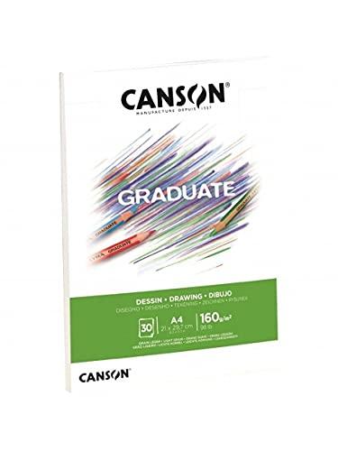 Canson Graduate Dibujo Bloc Encolado A5 30H Fino 160g Blanco Natural