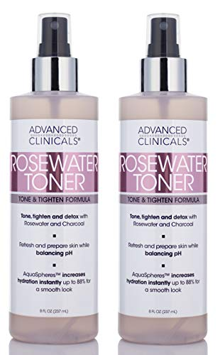 8oz Advanced Clinicals Rosewater Toner with Charcoal and Aloe Vera. Balancing PH formula detoxifies and hydrates skin and improves overall skin tone. Alcohol-free. (Two - 8oz)