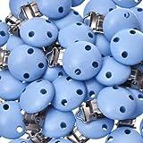 30 Schnullerclips hellblau Schnullerketten Holz schadstofffrei Nuckelclip Baby Clip speichelfest Clips