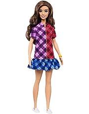 Barbie GHW53 - Fashionistas-docka 137 med långt, brunt hår