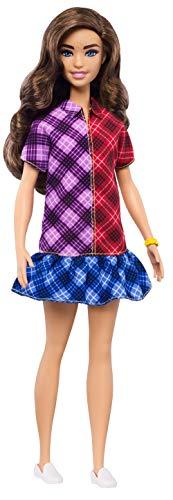 Barbie GHW53 - Fashionistas Puppe, mit langem braunen Haar, Kleid mit Colorblock-Karomuster und Accessoires, Spielzeug ab 3 Jahren