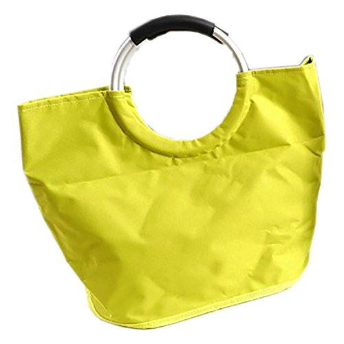 Moderne Einkaufstasche mit Aluringe als Griff und 4 Standfüßen Limettengrün Innenfach mit Reißverschluss