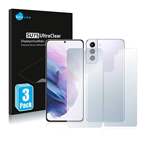 Savvies 6X Schutzfolie kompatibel mit Samsung Galaxy S21 Plus 5G (Vorder + Rückseite) Bildschirmschutz-Folie Ultra-transparent