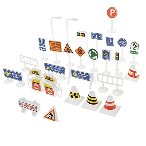 Hellery 28x Señales de Tráfico en Miniatura Señales de Tráfico Accesorios de Tráfico por Carretera Set para