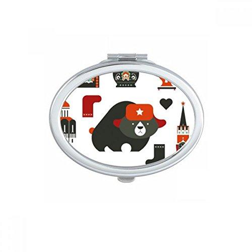 DIYthinker Bär Wodka Akkordeon Puppe Russland Land Kultur Oval Compact Make-up Taschenspiegel Tragbare nette kleine Hand Spiegel Geschenk Mehrfarbig