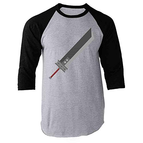 Pop Threads Fantasy Buster Sword Gamer Black XL Raglan Baseball Tee Shirt