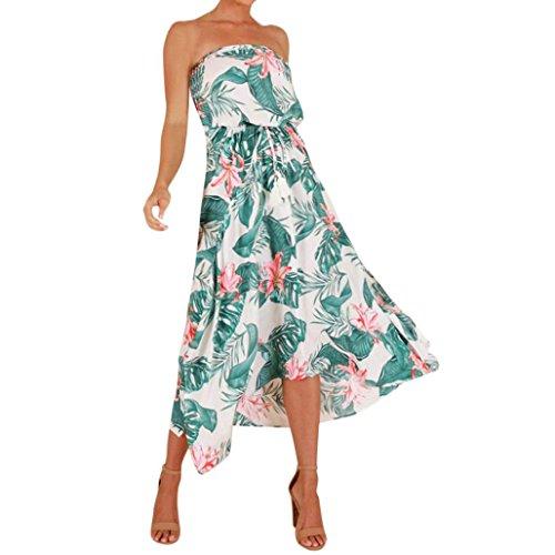 Damen Kleider URSING Frauen Boho Blumendruck Schulterfrei Rückenfreies Kleid Schöne Sommer Strand Schnüren Kleid Schöne Damenkleider Sommerkleider Bandeau Kleid Freizeitkleid Strandkleid (L, Grün)