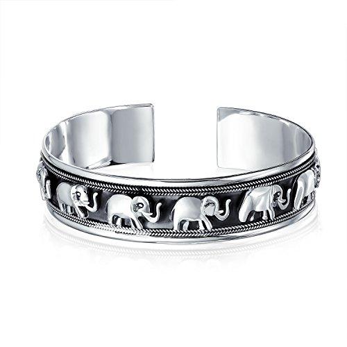 Bali Viel Glück Elefanten Manschette Armreif Für Damen Massiv Schwere Antiqued 925 Sterling Silber