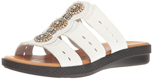Easy Street Women's Nori Flat Sandal, White, 7 W US