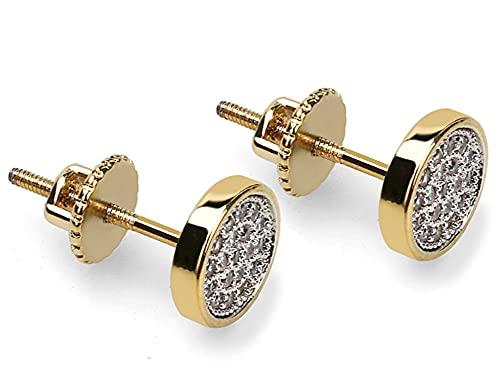 CHXISHOP Pendientes de Hip Hop chapados en oro con microincrustaciones de circonio redondo con rosca para hombres y mujeres
