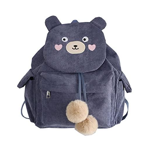 MINGPAI Zaino da donna in velluto a coste a righe borsa da scuola ragazza Harajuku borsa da scuola per donna moda femminile borsa da scuola studentessa