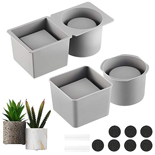 Model for Concrete Flower Pots, Silicone Model Succulent Planter Silicone Mold for DIY Homemade Succulent Plant Pots (7.1 x 2.8 Inch, Round and Square Shape)
