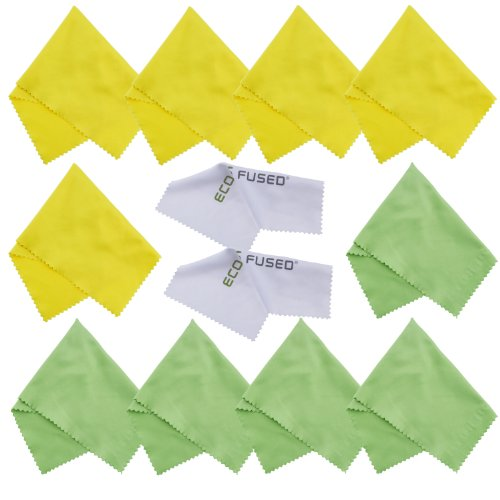 Eco-Fused Microfiber Cleaning Cloths - 12 Pack - Ideal for Cleaning Glasses, Spectacles, Camera Lenses, iPad, Tablets, Smartphones, iPhone, Android Phones, Laptops, LCD Screens and Other Delicate Surf