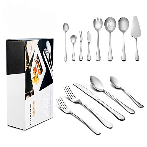 68-Piece Silverware Set with Serving Pieces, Service for 12, LIANYU Flatware Utensil Set - 100% Stainless Steel - Dishwasher Safe, Attached 8-Piece Serving Set