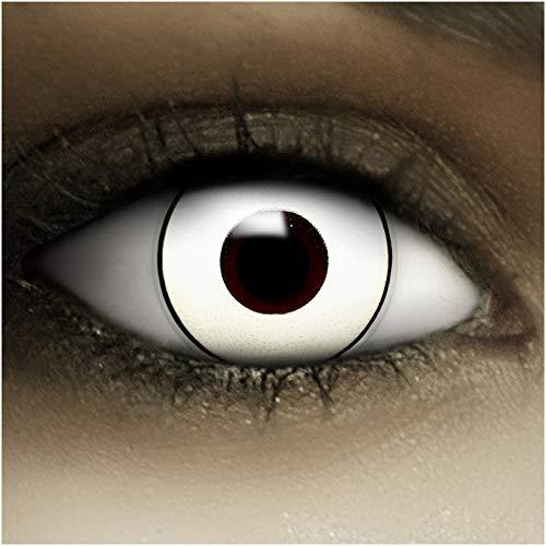 Farbige Kontaktlinsen ohne Stärke Bogie + Kunstblut Kapseln + Kontaktlinsenbehälter, weich ohne Sehstaerke in weiß und schwarz, 1 Paar Linsen (2 Stück)