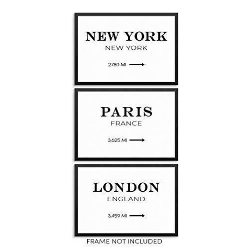 Sincerely, Not New York Paris London Road Miles Art Print Set Minimalist Home Decor Travel Posters 11