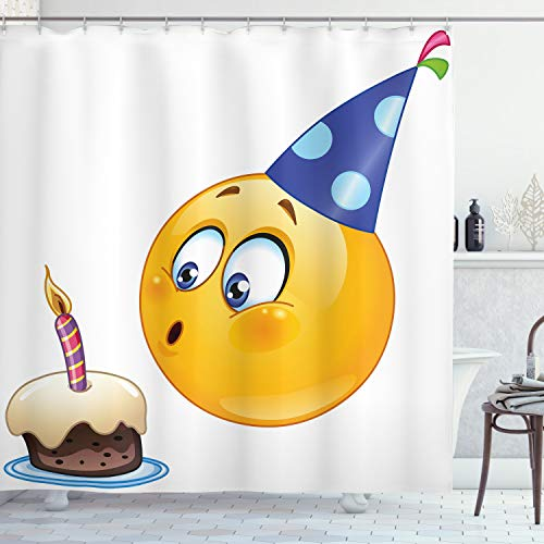 """Ambesonne Birthday Party Shower Curtain, Happy Face Celebration Themed Cone Hat Blowing Cake Print, Cloth Fabric Bathroom Decor Set with Hooks, 70"""" Long, Dark Blue Yellow"""