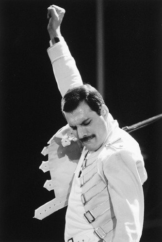 Queen Freddie Mercury iconic pose fist in the air on stage 24X36 Poster