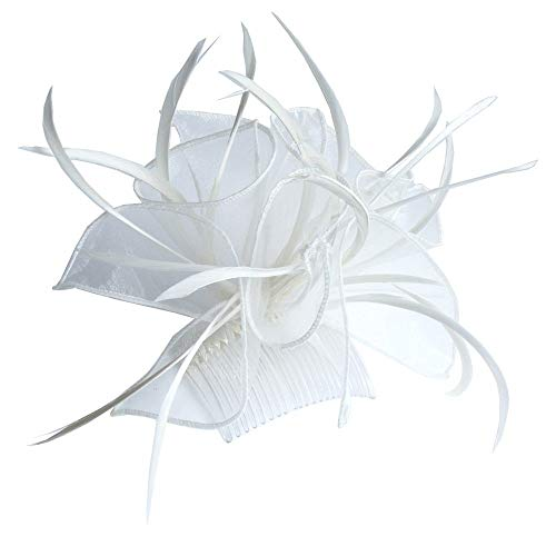 Looped Fabric & Feather Fascinator On Comb Cream Ref:8321
