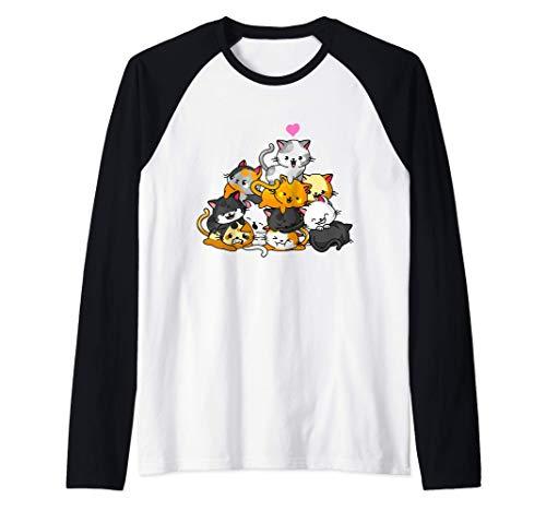 Gato Lindo Gatito Pila Gatos Anime Kawaii Neko Regalo Camiseta Manga Raglan