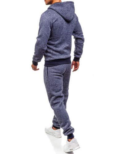 Geagodelia Tuta Sportiva a Maniche Lunghe Uomo Felpa con Cappuccio e Zip 2PC Tinta Untia Tute Pantaloni in Cotone Completo Invernale Jogger per Palestra (Blu, L)