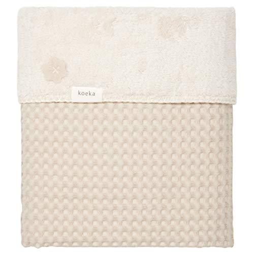 Koeka Tagesdecke für Einzelbett – Sofa-Decke – Luxuriöse Tagesdecke – Oslo – Baumwolle mit Plüschfutter – Sand/Kiesel – 140 x 200 cm