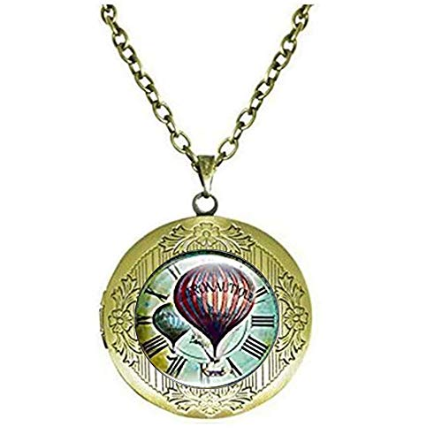 xinzhahi Vintage Uhr mit Luftballons Kunst Glas Cabochon Schmuck Medaillon Halskette Frauen Geschenk