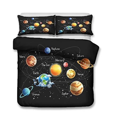 WENYA Impresión 3D Espacio Universo Galaxia Planeta Cohete Astronomía Juego de Cama Niño Niña Funda Nórdica y Funda de Almohada Microfibra (Estilo 3, 150 x 200 cm - Cama 90 cm)