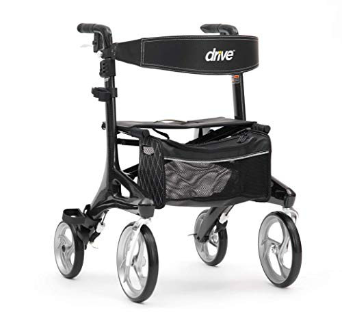 Drive Nitro Elite Kohlefaser-Rollator mit Rückenlehne, Sitz und Tasche