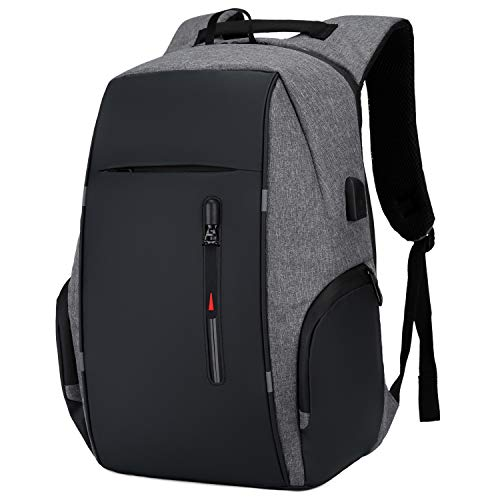 Travel Laptop Backpack Water Resistant Anti-Theft Bag with USB Charging Port 14/15.6 Inch Computer Business Backpacks for Women Men College School Student Gift,Bookbag Casual Hiking Daypack,Grey