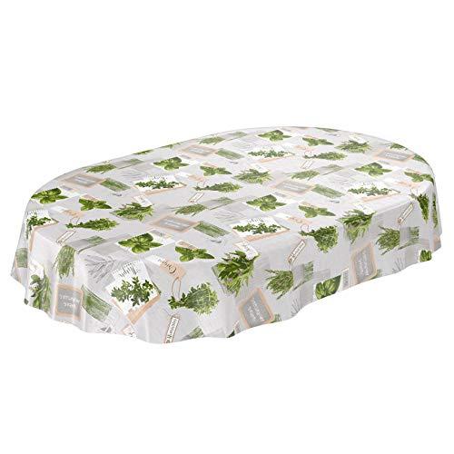 ANRO Wachstuchtischdecke Wachstuch Wachstischdecke Tischdecke abwaschbar Kräuter Grün Beige Bio Basilikum Oval 140 x 180cm