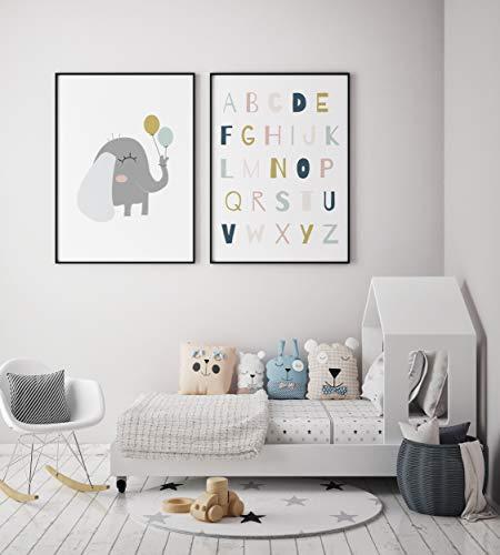 MILUKA Pack 2 láminas Infantiles para enmarcar colección Sweet Pets   Elefante & ABC Anais   Tamaño 20x30cm, 30x40cm, 50x70cm (50 x 70 cm)