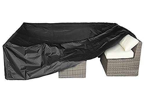 GETMOREBEAUTY Funda protectora para muebles de patio al aire libre, para porche, sofá, impermeable, a prueba de polvo, 314 x 160 x 73 cm, color negro