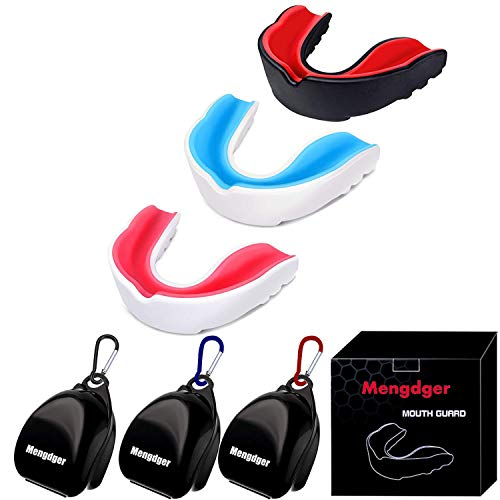Mengdger Youth Mouth Guard Football Moldable MouthGuard Sports Kids Boys Mouthpiece Teeth Protective Braces EVA Double Colored for MMA Boxing Rugby...