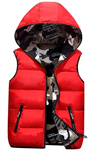 AIEOE Kinder Outdoor Kapuzenweste Herbst Winter Warm Steppweste Tarnung Reversibel Outwear
